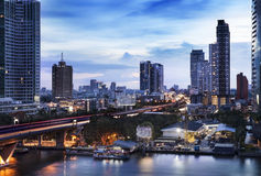 Urban City Skyline, Chao Phraya River, Bangkok, Thailand. Royalty Free Stock Image