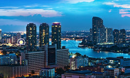 Urban City Skyline, Chao Phraya River, Bangkok, Thailand. Royalty Free Stock Photo