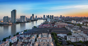 Urban City Skyline, Chao Phraya River, Bangkok, Thailand. Royalty Free Stock Photography