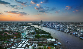 Urban City Skyline, Chao Phraya River, Bangkok, Thailand. Stock Photography