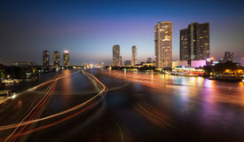 Urban City Skyline, Chao Phraya River, Bangkok,Thailand. Royalty Free Stock Image