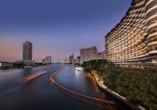 Urban City Skyline, Chao Phraya River, Bangkok,Thailand. Royalty Free Stock Photo
