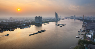 Urban City Skyline, Chao Phraya River, Bangkok,Thailand. Royalty Free Stock Photo