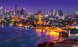 Chao Phraya River with Wat Arun, Bangkok,Thailand Stock Photography