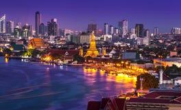 Chao Phraya River with Wat Arun, Bangkok,Thailand Stock Photography