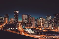 Urban City Skyline at Night Stock Photos