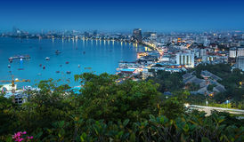 Urban city Skyline, Pattaya bay and beach, Thailand. Stock Image