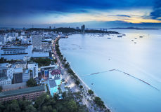 Urban city Skyline, Pattaya bay and beach, Thailand. Royalty Free Stock Photos