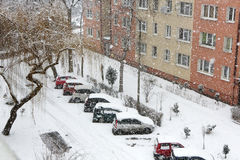 Urban city while snow flurry. Snow covered cars. Stock Photos