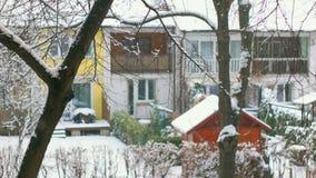 Urban City SnowFall, Slightly Defocused stock footage