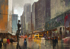 Urban city street digital painting,cityscape Stock Images