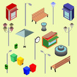 Urban city street isometric vector objects, benches, streetlight, booth, newsstand, Kiosk, clock, recycle bins, fountain Royalty Free Stock Photos