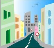 Urban city street scene. Vector illustration Royalty Free Stock Photos