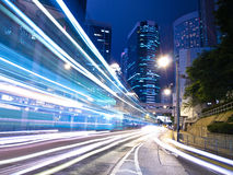 Urban City Traffic at Night. Traffic night in amazing city Hong Kong Royalty Free Stock Images