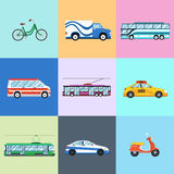 Urban city vehicles icon set Royalty Free Stock Photos