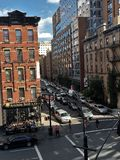 Urban city view in New Yok. Day time view from High line park in New York Royalty Free Stock Images