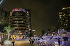 Night view of the Dubai Marina skyscrapers United Arab Emirates Stock Images