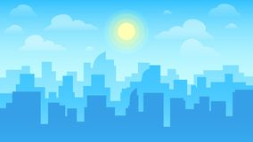 Urban cityscape. City architecture, skyscrapers buildings and town landscape with sun on cloudy sky vector background royalty free illustration