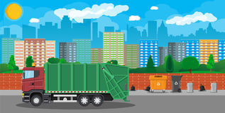 Urban cityscape with garbage car Royalty Free Stock Photography
