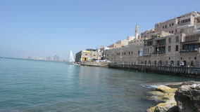 Urban cityscape of the old port of Jaffa in Tel Aviv Jaffa, Israel stock footage
