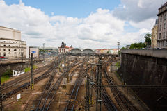 Urban cityscape with railways of the train station Royalty Free Stock Images