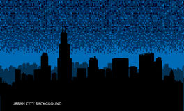 Urban cityscape seamless background. Night city wallpaper. Stock Photos