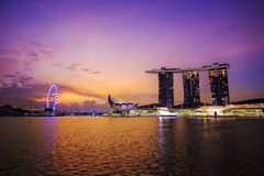 Urban cityscape of Singapore with sunrise Stock Images
