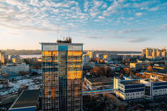 Urban cityscape at sunset, Voronezh city, panorama with city line, clouds Royalty Free Stock Photography