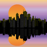 Urban Cityscape on water Royalty Free Stock Images