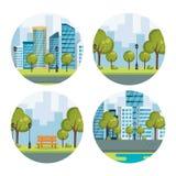 Urban cityscapes set scenes. Vector illustration design Stock Images
