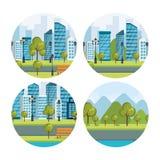 Urban cityscapes set scenes. Vector illustration design Royalty Free Stock Photos