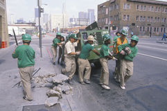 Urban cleanup crew. In Los Angeles on Earth Day Royalty Free Stock Photos