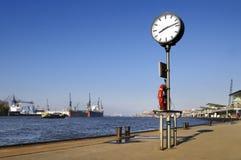 Urban clock and harbour. City clock at harbour, Hamburg Stock Photo