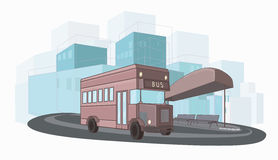 Urban colorful vector illustration of city bus Stock Photos