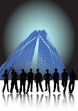 Urban command. Nine businessmen with shadows on blue urban background Stock Photography