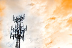 Urban Communications Tower. With dramatic sky royalty free stock images