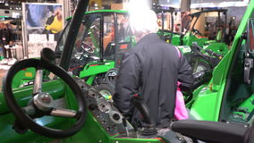 Urban compact equipment for construction and cleanup activities stock video footage