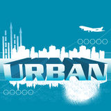 Urban concept. Abstract colorful illustration with modern building shapes, arrows rising, plane and the word urban written with huge letters. Abstract urban Stock Photography