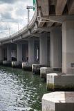 Urban concrete bridge, span bottom details. Columns and beams, vertical photo stock photography
