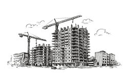Urban construction, building sketch. City, house, town vector illustration Stock Image