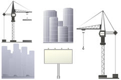 Urban construction set. Set with construction crane, billboard and skyscrapers Stock Photo