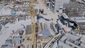 Urban construction site, aerial view. Clip stock footage