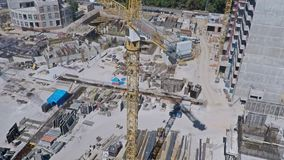 Urban construction site, aerial view. Clip stock video