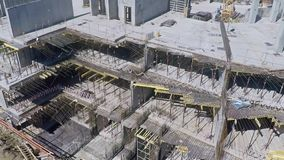 Urban construction site, aerial view. Clip stock video footage