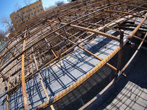 Urban construction site. With metal reinforcement, focus on foreground with wide angle fisheye view stock photos