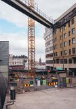 Urban construction site in Stockholm Sweden at Slussen with landmarks seen. On sunny day stock photography
