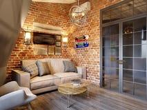 Urban Contemporary Modern Scandinavian Loft Living room stock illustration