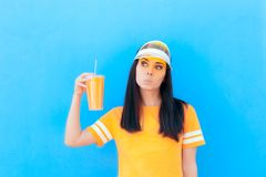 Summer Girl Holding Lemonade Fresh Juice Wearing Yellow stock photos