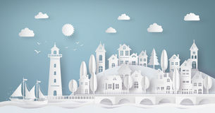 Urban Countryside Landscape City Village. And sea bay with sunset,paper art and craft style Royalty Free Stock Photo