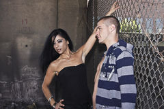Urban Couple flirting Royalty Free Stock Image